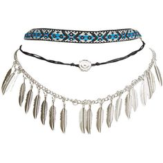 Boho Babe Choker Trio (21 NZD) ❤ liked on Polyvore featuring jewelry, necklaces, silver, chain choker necklace, chain necklace, ribbon choker necklace, beads & charms and ribbon necklace