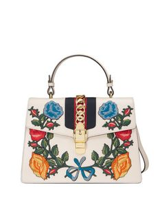 Sylvie+Embroidered+Leather+Top-Handle+Satchel+Bag,+White/Multi+by+Gucci+at+Neiman+Marcus.