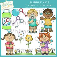 Bubble kids clip art. High-res 300dpi png and jpg formats. All image designs are in color and black and white for a total of 29 images per format.