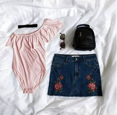 Roses are red, I'm not getting out of bed #sleepforever #goodnight #urbanplanet One-Shoulder Ruffle Bodysuit Floral Embroidered Frayed Hem Skirt (Shop link in bio)