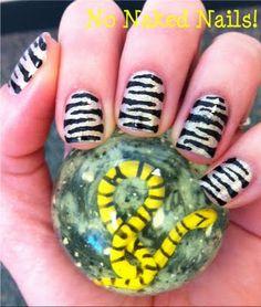 easy zebra nail art
