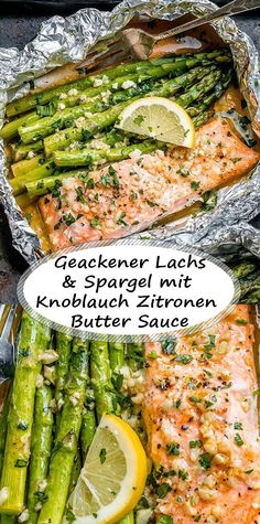 Baked salmon and asparagus with garlic lemon butter .- Gebackener Lachs und Spargel mit Knoblauch Zitronen Butter Sauce Baked salmon and asparagus with garlic lemon butter sauce - Salmon Recipe Cast Iron, Salmon Recipe Pan, Seared Salmon Recipes, Salmon Sauce, Healthy Salmon Cakes, Healthy Salmon Recipes, Asian Recipes, Clean Eating Salmon, Baked Salmon And Asparagus