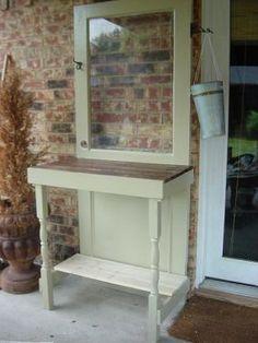 garden work bench made from old door - use for laundry room door?  JUNKMARKET Style