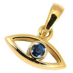 18k Gold Evil Eye and Sapphire Pendant