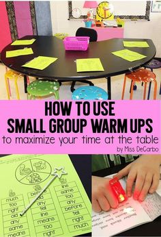 Group Warm Ups To Maximize Time at the Table Use Small Group Reading Warm Ups To Maximize Your Time At The Small Group Table: Sight Word Ideas and Activities, Fluency and Book Baskets, and Organization Ideas!Activity Activity may refer to: Small Group Reading, Guided Reading Groups, Reading Centers, Reading Workshop, Reading Strategies, Reading Skills, Guided Reading Activities, Reading Center Ideas, Reading Comprehension