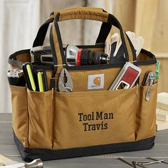 Buy personalized tool bags & add any 2 lines of text to be custom embroidered on the front pocket. This quality Carhartt Signature utility tote bag is perfect for any handyman! Gifts For Boyfriend Long Distance, Diy Gifts For Boyfriend, Gifts For Husband, Diy Gifts For Men, Easy Diy Gifts, Man Gifts, Christmas Gifts For Parents, Best Christmas Gifts, Christmas Ideas