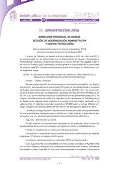BASES DE LA CONVOCATORIA PÚBLICA PARA LA COMPRA DE ORDENADORES (CPU) PARA LOS AYUNTAMIENTOS DE LA PROVINCIA DE BURGOS