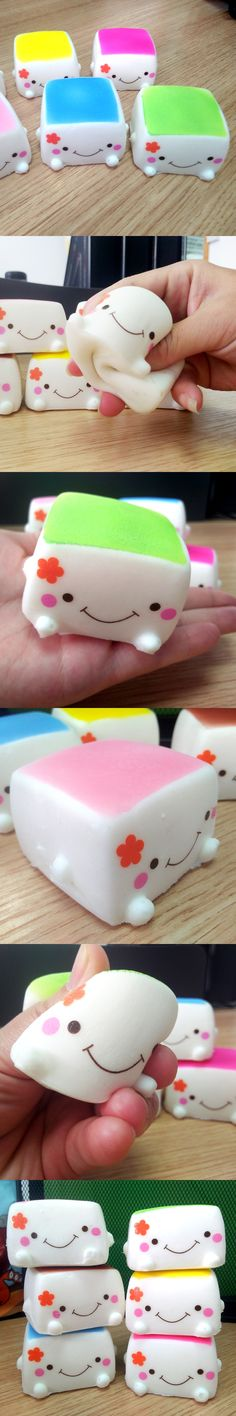1PCS New Tofu Slow Rising Squishy Soft Bean Curd Scented Squishies Charms Kids Toys Random