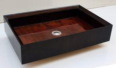 Golden Brown  Wooden Sink by BubingaWoodDesign on Etsy, $899.00  -  handmade, beautiful, rectangular, bathroom.       lj