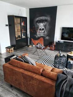 Masculine Home Decor, Masculine Living Rooms, Boho Living Room, Cozy Living Rooms, Home And Living, Bachelor Room, Living Room Decor Inspiration, Apartment Interior Design, Home Decor Trends