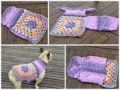 Crochet Granny Square Dog Sweater Easy to put on Hand made Crochet Granny, Easy Crochet, Free Crochet, Dog Crochet, Crochet Crafts, Crochet Projects, Tricot Simple, Crochet Dog Clothes, Pet Clothes