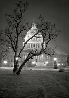 """Snowy Washington, D.C.,. circa 1935. """"East Front of U.S. Capitol at night in winter."""" 5x7 nitrate negative by Theodor Horydczak."""