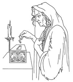 The Widows Offering Coloring Page