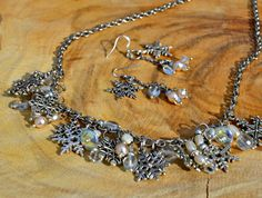 Snowflake Necklace and Earring Set by DebWiseCreations on Etsy