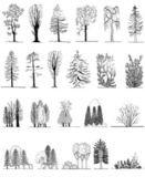Um conjunto de silhuetas de árvore, para arquitetura ou design de paisagem — Ilustração de Stock #46490207