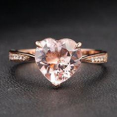 14K Rose Gold Heart Shaped 8mm Morganite H/SI Diamonds Wedding Engagement Ring