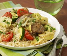 Tuscan Chicken & Artichokes -Place the chicken, vegetables, and seasoning into the slow cooker. Serve this healthy dinner with whole grain couscous. Slow Cooker Recipes, Crockpot Recipes, Cooking Recipes, Healthy Recipes, Slow Cooking, Healthy Dinners, Delicious Recipes, Easy Recipes, Vegetarian Recipes
