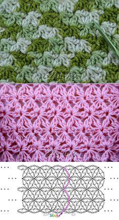 Узор звездочки-цветочки по кругу | Crochet by Ellej | Вязание крючком от Елены…