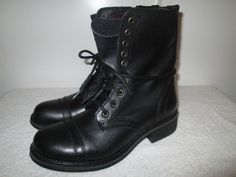 Steve Madden Troopa Mid Leather Lace Up Black Boots Combat Boot Bootie 9.5 M NIB…