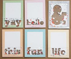 Project Life Confetti Pocket Sentiment Cards. Make with my silhouette?