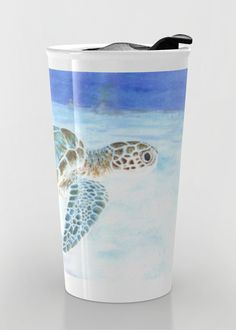 """Sea turtle"" Travel Mug by Savousepate on Society6 #travelmug #mug #seaturtle #underwater #watercolorpainting #blue #aqua #turquoise #mint"