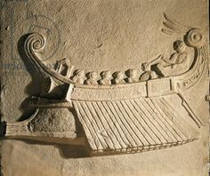 Marble relief portraying trireme ship, from Pozzuoli, Naples Province, Italy