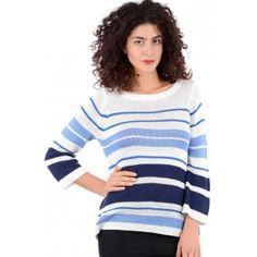 Blue Stripe Knit Jumper - PLUS SIZES AVAILABLE