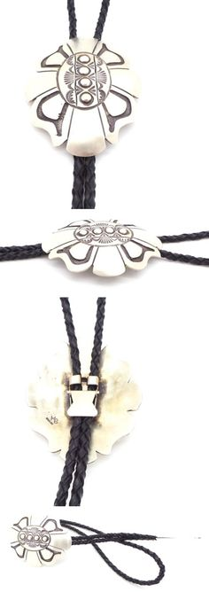 Pins Brooches 98499: Navajo Handmade Sterling Silver Old Style Stamp Bolo Tie - Hemerson Brown BUY IT NOW ONLY: $204.0