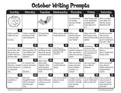 October Writing Prompts from Lakeshore Learning! Writing Prompts For Writers, Picture Writing Prompts, Writing Lessons, Teaching Writing, Writing Ideas, 4th Grade Writing Prompts, Paragraph Writing, Story Prompts, 4th Grade Journal Prompts