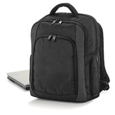 Quadra Tungsten Laptop Backpack - Features: iPod?/MP3 compatible inc. headphone port Padded laptop section Accepts most laptop computers up to 15.6 widescreen Front pocket organiser section Side zippered pockets Dimensions: 45 x 34 x21cm Capacity: 23 litres Maximum embroidery: 18 tubular hoop Maximum print area: 22 x 17cm