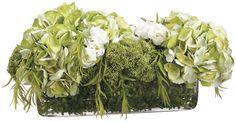 Lifelike Hydrangea Floral Arrangement in Rectangular Glass Vase