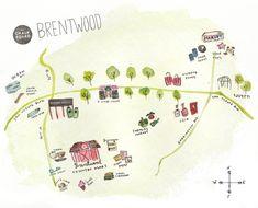 brentwood neighborhood guide | the chalkboard magazine, illus. by aimee guzman