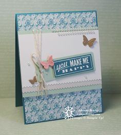 #stampinup #HelloLovely #VenetianRomance #butterfly   By Adriana Benitez. This card is brilliant!!!