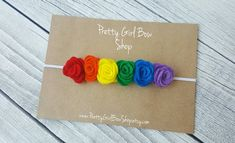 Rainbow felt flower headband/rainbow baby headband- felt rosettes- felt flowers- rainbow baby crown- baby gift- newborn headband