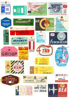 Reminds me of my Dad's leather suitcase - used to be plastered with these! Vintage Airline Luggage Tags Graphics
