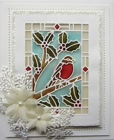 Hi bloggers!  Welcome back to the last post for today.  This one is showcasing the other Stained Glass design in this release; the Robin Redbreast Stained Glass die.  Shown here done in vellum, you ca