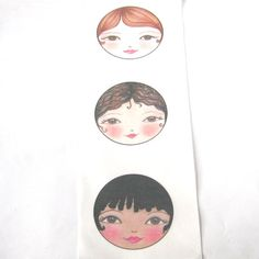 Doll face  Applique SEW IN Fabric  Matryoshka doll by zouzoudesign, $7.50