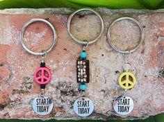 Start today motivational peace keychain