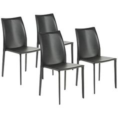 Set Of 4 Dalia Black Leather Side Chairs