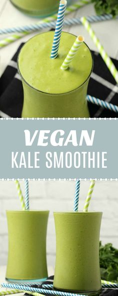 Kale Smoothie That Tastes Like A Milkshake! Creamy and smooth kale smoothie with a gorgeous pale green color that tastes like a delicious ice-c Kale Smoothie Recipes, Smoothie Prep, Vegan Smoothies, Fruit Smoothies, Smoothie Bowl, Kale Recipes, Diabetic Smoothies, Vitamix Recipes, Breakfast Smoothies