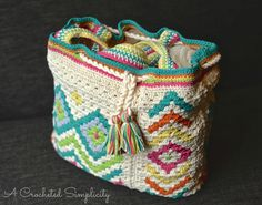 """Crochet pattern: """"Boho Chic"""" Mosaic Tote Bag by A Crocheted Simplicity for sale on Craftsy, Etsy, and Ravelry"""