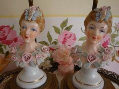 Gorgeous!! Vintage Porcelain *Lady* Bust Lamps Pink Roses Pair Thames HP