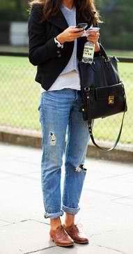 Distressed rolled jean, brown saddle shoes, leather bag, cropped t-shirt, blardigan? (blazer + cardigan?)