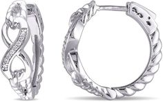 FINE JEWELRY Diamond Accent White Diamond Accent Sterling Silver Hoop Earrings