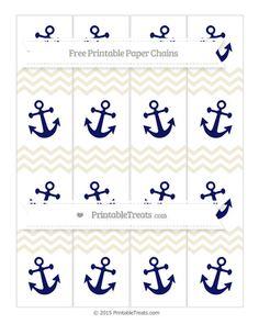 Eggshell Chevron  Nautical Paper Chains