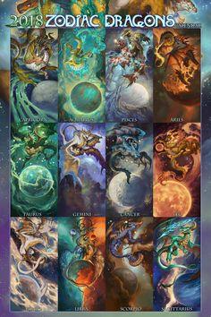 2018 Zodiac Dragons I'm a Aries, yeah! Zodiac Signs Chart, Zodiac Signs Astrology, Zodiac Star Signs, Anime Zodiac, Zodiac Art, Leo Zodiac, Fantasy Dragon, Dragon Art, Fantasy Creatures