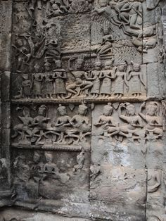 The intricate carvings at Ta Prohm Temple, Siem Reap, Cambodia.