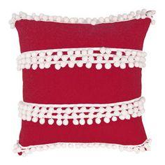 Red Pillow with Pom Pom Stripe - 18 in.