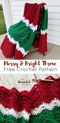 Merry and Bright Crochet Throw | Free Crochet Pattern | The Unraveled Mitten | Chevron Ripple Crochet Stitch | #freecrochetpattern #crochet #crochetthrow #christmas