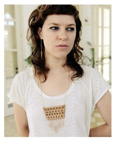 Boho Wooden Necklace with Rose Gold Chain Fringe, Tribal Necklace, Geometric, Wood, Hippie, Ethnic Navajo on Etsy, $43.43 AUD